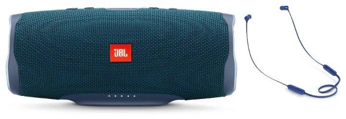 Колонки портативные JBL Charge 4 синий + Наушники беспроводные JBL T110BT