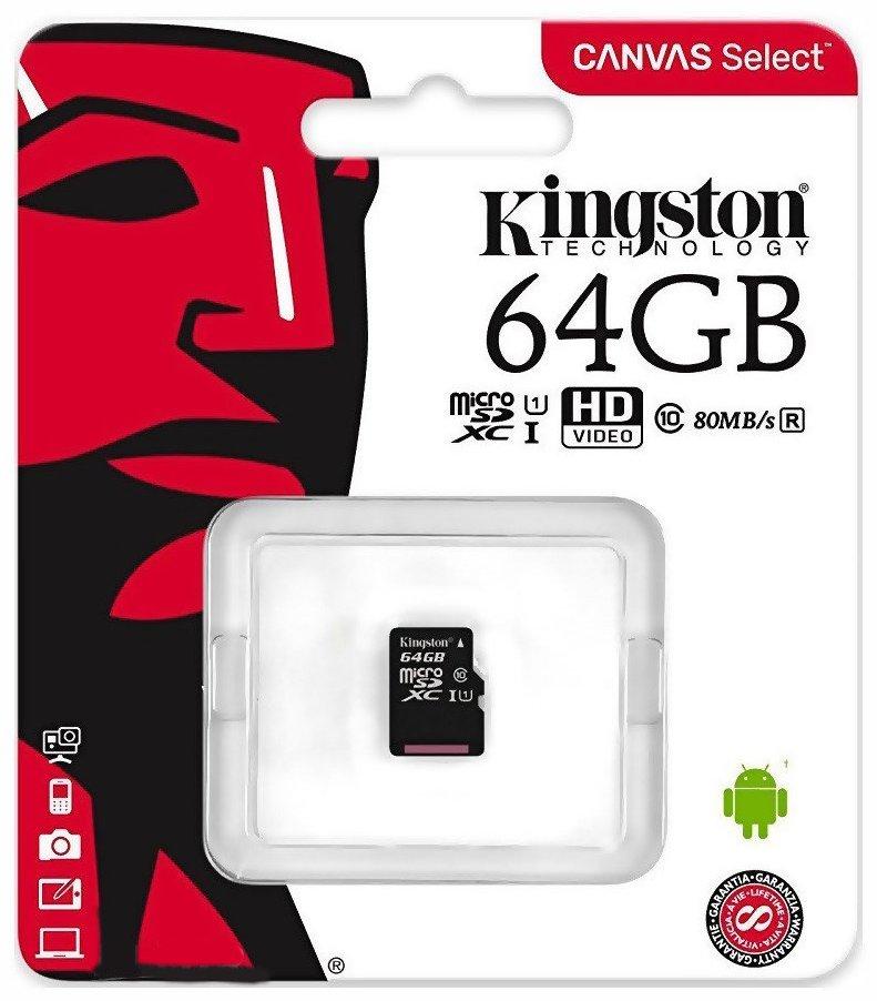 Карта памяти microSDXC 64 ГБ Kingston [SDCS/64GBSP] Class 10