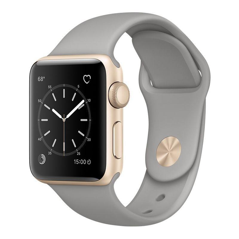 Часы Apple Watch Series 1 38mm золотистые (алюминий) с серым спортивным ремешком  (ЕСТ)
