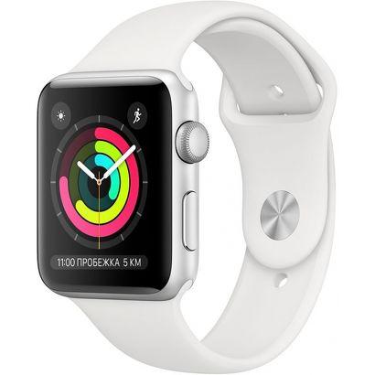 Часы Apple Watch Series 3 (GPS) 38mm серебристые (алюминий) с белым спорт. ремешком
