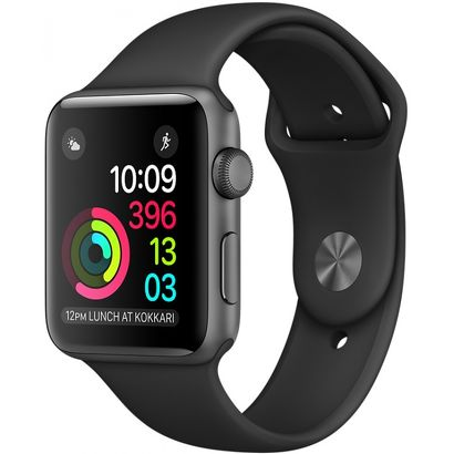 Часы Apple Watch Series 2 38mm серые (алюминий) с черным спортивным ремешком  (ЕСТ)