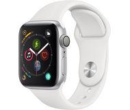 Часы Apple Watch Series 4 (GPS) 40mm серебристые (алюминий) с белым спорт. ремешком