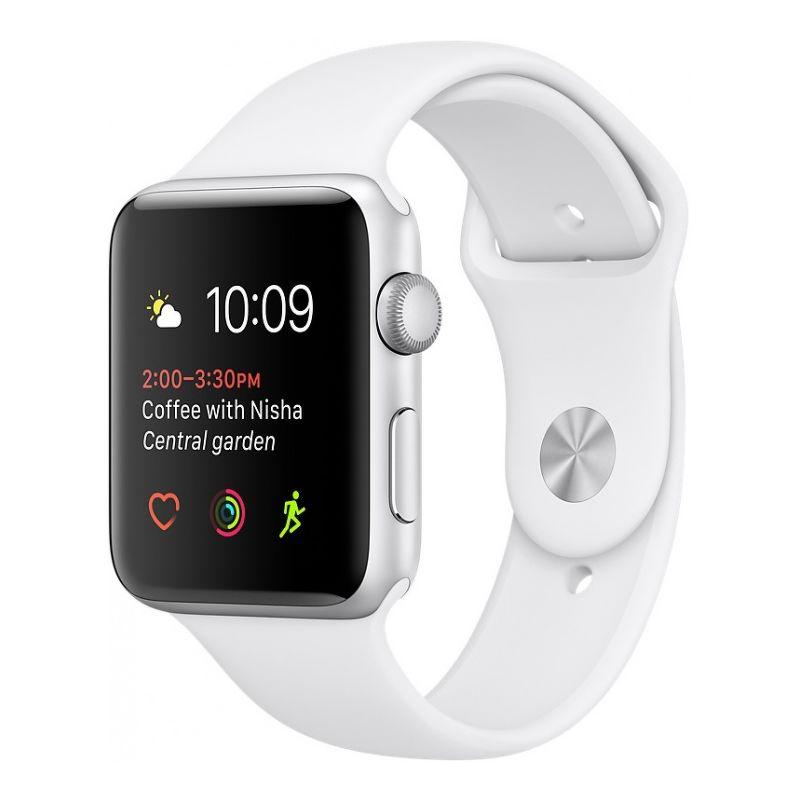 Часы Apple Watch Series 1 38mm серебристые (алюминий) с белым спортивным ремешком  (ЕСТ)