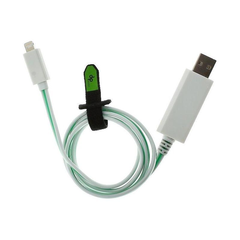 Дата-кабель DIOPRO Lightning - USB для Apple, 1.0м, с зеленой подсветкой  DAP-CBL5007