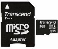 Карта памяти microSDHC 8 ГБ Transcend [TS8GUSDU1] Class 10 UHS-I с адаптером