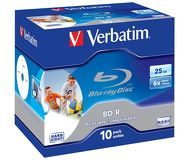 Диск BD-R Verbatim 25Gb 6x Jewel case (1шт) Printable Scratch proof (43713)