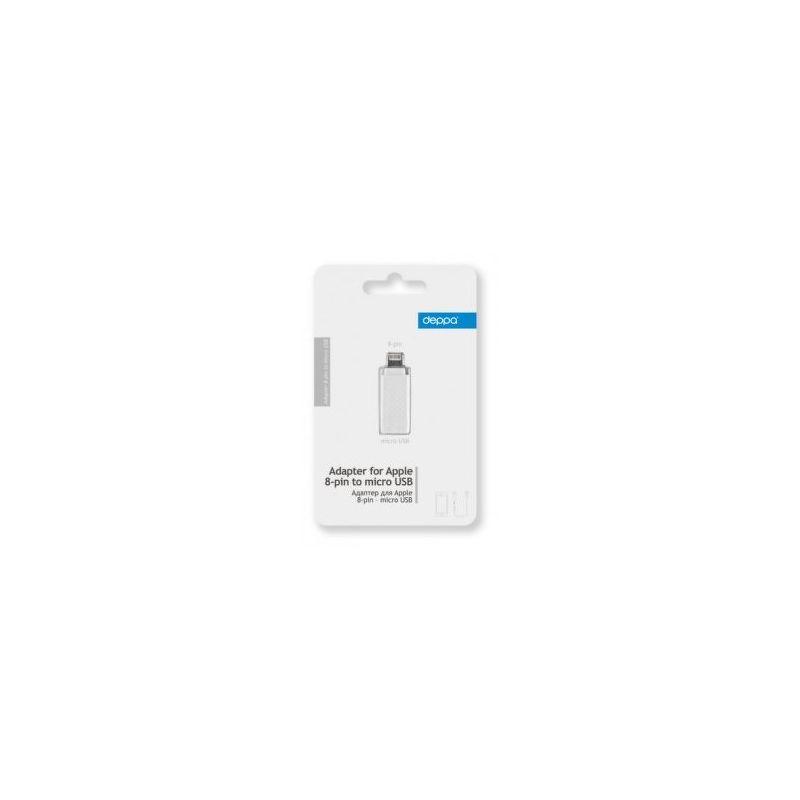 Переходник Deppa microUSB - Lightning для Apple, белый  72117