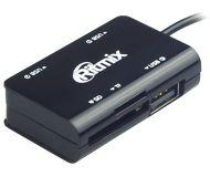 Хаб со встроенным картридером Ritmix CR-2322M, 3 порта, USB 2.0, OTG, черный