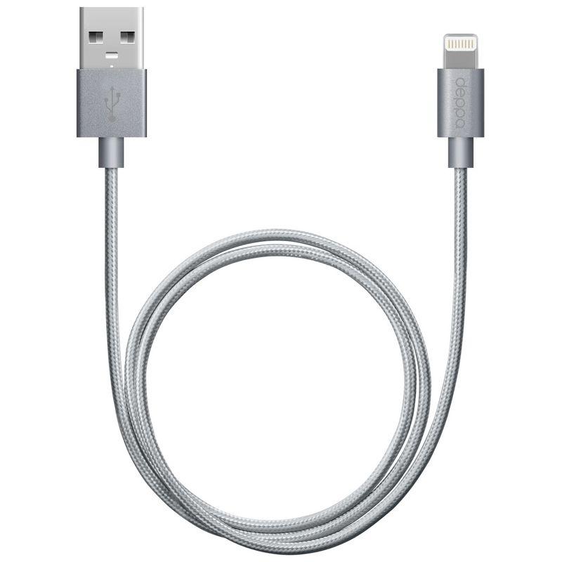 Дата-кабель Deppa Lightning - USB для Apple, MFI, 1.2м, в нейлоновой оплетке, серый [72189]