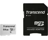 Карта памяти microSDXC 64 ГБ Transcend [TS64GUSD300S-A] Class 10 с адаптером