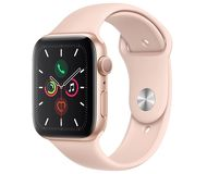 Часы Apple Watch Series 5 (GPS) 44mm золотистые (алюминий) с розово-песочным спорт. ремешком