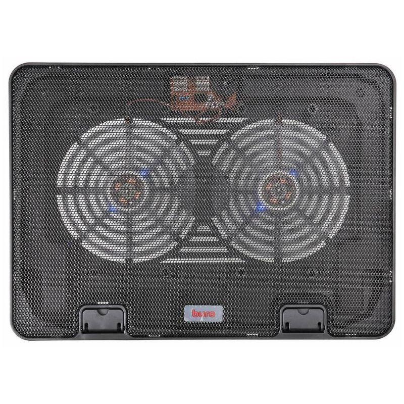 """Подставка охлаждающая 15.6"""" Buro BU-LCP156-B214H, 2 вентилятора 140мм, подсветка"""