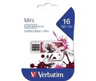 Флешка USB 16 ГБ Verbatim Mini Graffiti Edition [49414] USB2.0 красный/рисунок