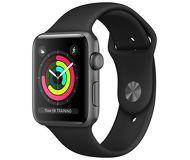 Часы Apple Watch Series 3 (GPS) 42mm серые (алюминий) с чёрным спортивным ремешком