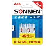 Батарейка SONNEN AAA LR3 Супералкалин комплект 4шт. в блистере (451096)