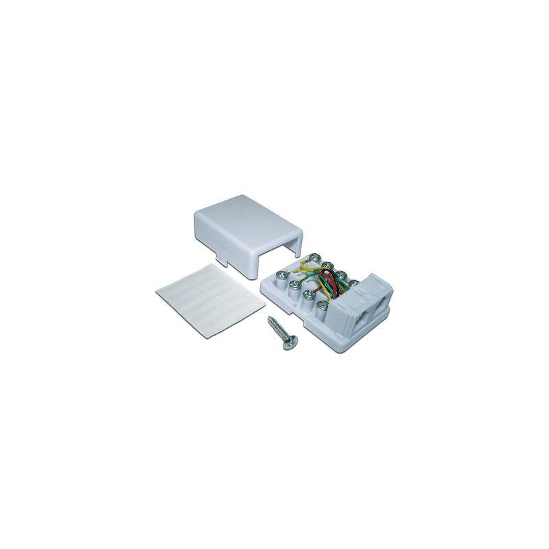 Розетка TWT (TWT-SS2-1212-WH) Телефонная настенная 2 порта 6P4C. винтовая