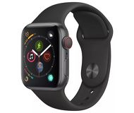 Часы Apple Watch Series 5 (GPS) 44mm серые (алюминий) с черным спорт. ремешком