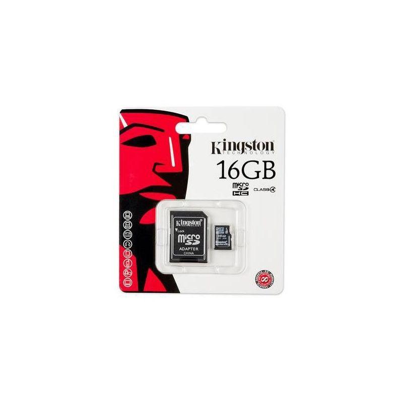 Флеш карта microSDHC 16Gb Kingston Class 4 SDC4/16Gb с адаптером