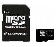 Карта памяти microSDHC 16 ГБ Silicon Power [SP016GBSTH010V10-SP] Class 10 c адаптером