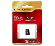 Карта памяти microSDHC 16 ГБ Silicon Power [SP016GBSTH010V10] Class 10