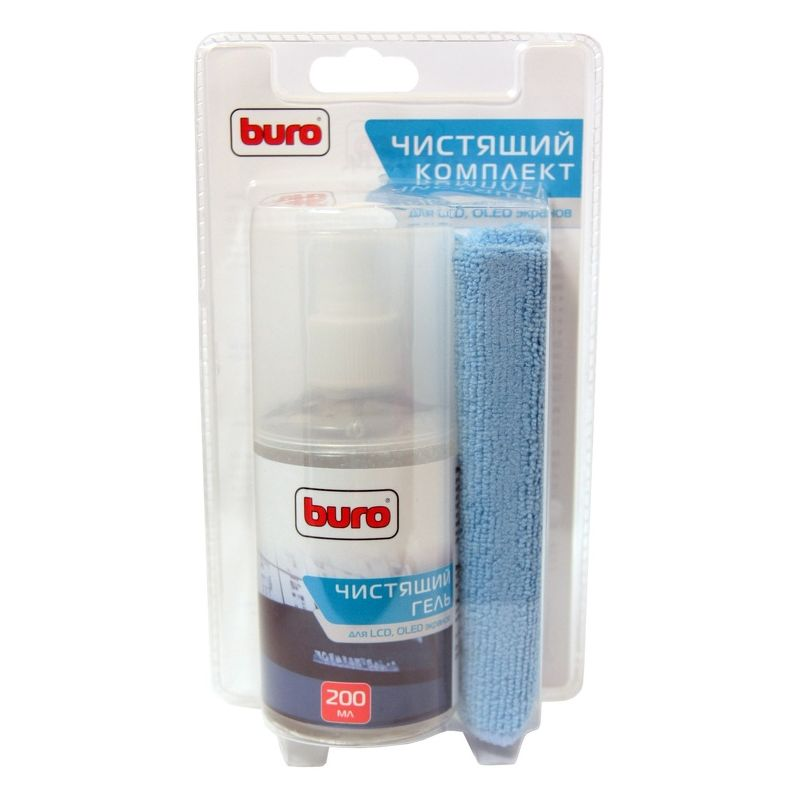 Гель Buro BU-Glcd для чистки LCD, LED, Plasma панелей, 200 мл, салфетка 25 х 25