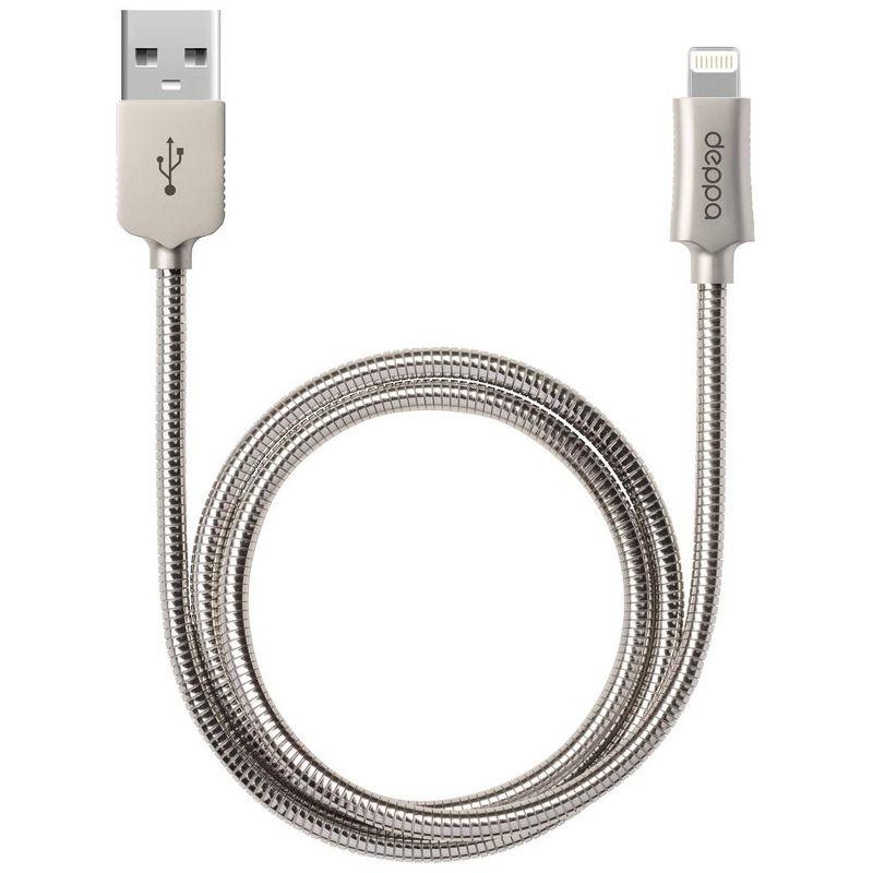 Дата-кабель Deppa Steel Lightning - USB для Apple, MFI, 1.2м, стальной, серебристый [72272]