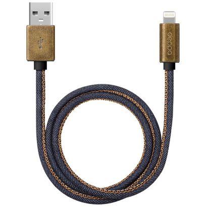 Дата-кабель Deppa Jeans Lightning - USB для Apple, MFI, 1.2м, синий [72275]
