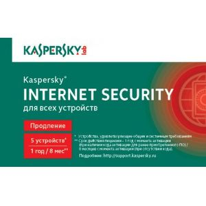 ПО Kaspersky Internet Security Multi-Device Russian Edition 5-Desktop 1 year Renewal Card KL1941ROEFR
