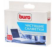 Салфетки Buro BU-W/D для экранов сухие и влажные 5 + 5 шт.