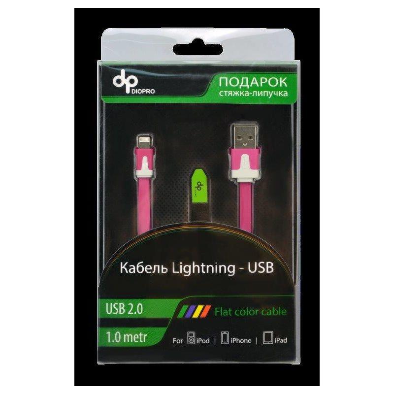 Дата-кабель DIOPRO Lightning - USB для Apple, 1.0м, с синей подсветкой  DAP-CBL5207
