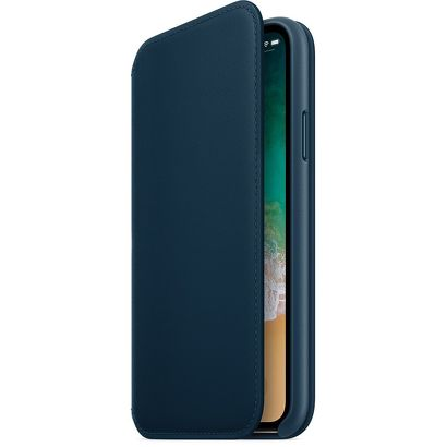 Чехол Apple iPhone X/Xs Leather Folio синий реплика