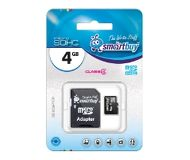 Флеш карта microSDHC 4Gb Smartbuy 4 class + адаптер SB4GBSDCL4-01