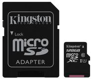 Флеш карта microSDXC 128Gb Kingston Class 10 SDC10G2/128GB c адаптером