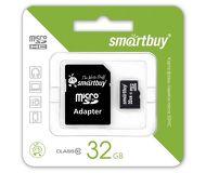 Флеш карта microSDHC 32Gb Smartbuy Class 10 SB32GBSDCL10-01 c адаптером