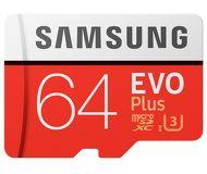 Флеш карта microSDXC 64Gb Samsung EVO PLUS 2 Class 10 UHS-I U3 MB-MC64GA/RU с адаптером