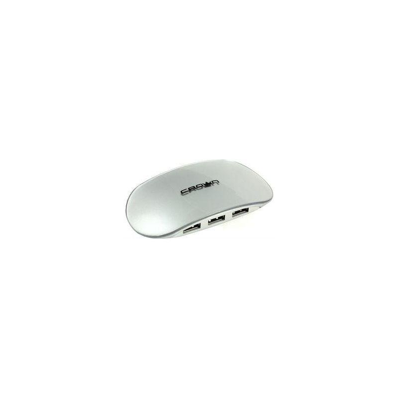 Хаб Crown CMH-B20, 4 порта, USB 2.0, серебристый