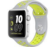 Часы Apple Watch Nike+ 42 mm серебристые (алюминий) с серо-салатовым спорт. ремешком  (ЕСТ)